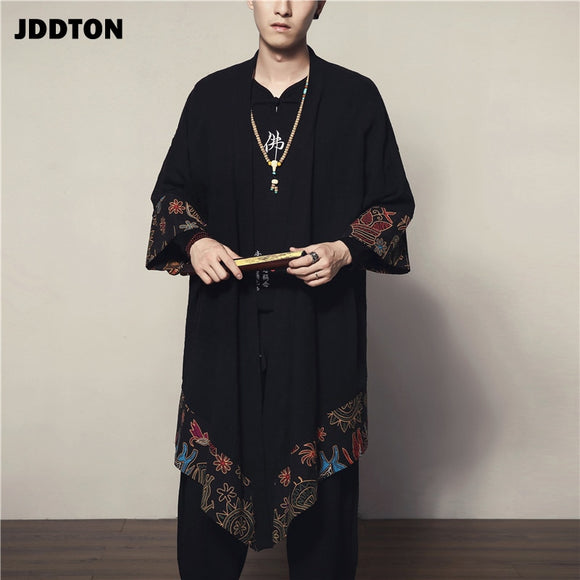 JDDTON Spring Men's Linen Kimono Long Cardigan Outerwear Coats Fashion Loose Irregular length Male Jackets Casual Overcoat JE004
