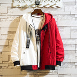 JDDTON Men's Bomber Jacket Casual Male Loose Hoodies Windbreaker Colorblock Korean Style Hip Hop Outwear Hooded Streetwear JE513