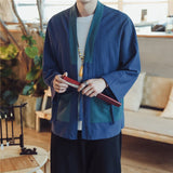 JDDTON Summer Men's Linen Kimono Japanese Style Loose Long Cardigan Outerwear Vintage Coats Male Jackets Casual Overcoats JE129
