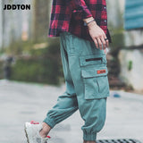 JDDTON Mens Summer Solid Pants Jogger Casual Loose Male Small Foot Pants Fashion Style Camouflage Side Pockets Trousers JE203