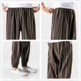 JDDTON Men's Cotton Linen Stripe Pants Chinese Style Casual National Pant Hip Hop Fashion Ankle Length Trousers Streetwear JE478