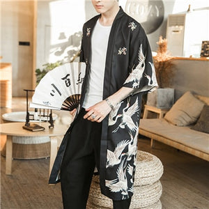 JDDTON Men's Kimono Fashion Jackets Long Cardigan Traditional Japanese Yukata Outerwear Haori Coats Male Casual Overcoats JE007