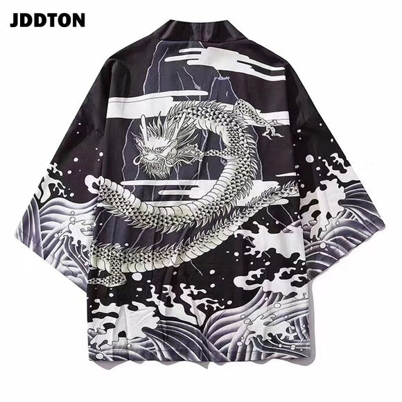JDDTON Men Kimono Fashion Cardigan Jacket Traditional Japanese Yukata Thin Outerwear Haori Coat Loose Casual Male Overcoat JE016
