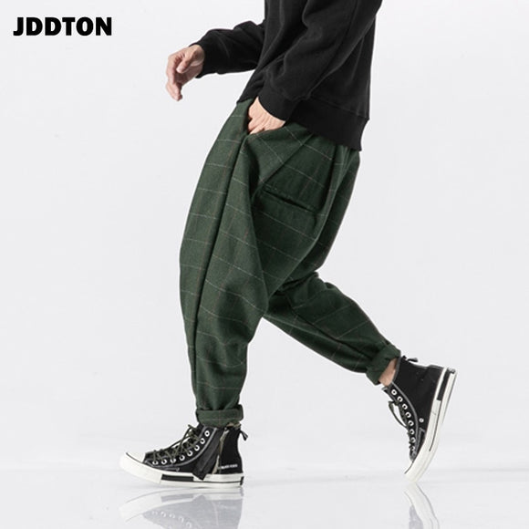 JDDTON 2020 Men's Thick Wool Pants Chinese Style Hip Hop Sweatpants Plaid Harem Japanese Traditional Joggers Male Trousers JE082