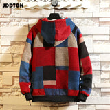 JDDTON Autumn Men's Wool Hooded Jacket Stitching Color Lattice Windbreaker Casual Plaid Woolen Clothing Thermal Streetwear JE200