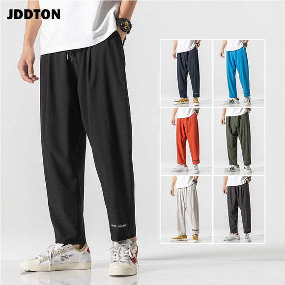 JDDTON New Men Autumn Solid Trend Wide Leg Solid Color Pants Harajuku Casual Hiphop Fashion Loose Streetwear Male Trousers JE362