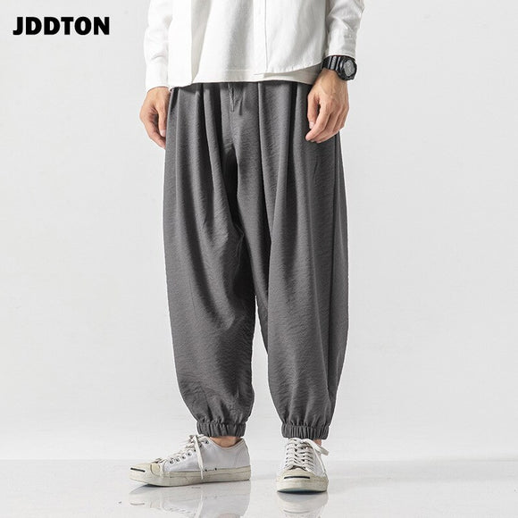 JDDTON Men Cotton And Linen Loose Pants Chinese Style Antiquity Casual Male Retro Streetwear Full Length Beam Foot Trouser JE163