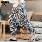 JDDTON Men's Hip-hop Cotton Linen Harem Pants Casual New Vintage Pants Wide Leg  Pantalon Hombre Trousers Loose Suspenders JE032