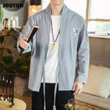 JDDTON Summer Men Open Cardigan Stitch Print Embroidery Vintage Jackets Clothing Casual Male Streetwear Sleeve Loose Coats JE160