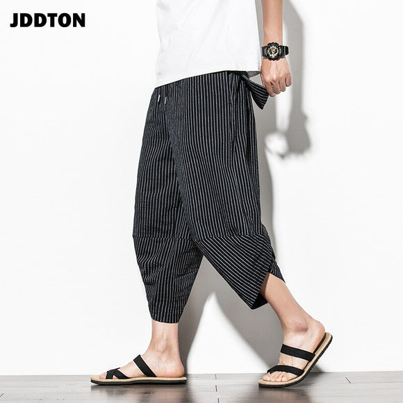 JDDTON Men's Cotton Striped Harem Pants Japanese Vintage Trousers Casual Track Loose Hip Hop Bloomers Fashion Male Trouser JE483
