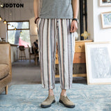 JDDTON Men's Cotton Linen Casual Literary Pants National Style Traditional Hip Hop Joggers Streetwear Loose Harem Trousers JE056
