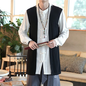 JDDTON Summer Men's Kimono Spliced Retro Jackets Solid Thin Outerwear Coats Loose Casual Vintage Chinese Style Overcoats JE117