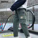 JDDTON Mens  Autumn Vintage Cargo Pants Print Harajuku Casual Hiphop Fashion Loose Streetwear Solid Color Pockets Trousers JE210