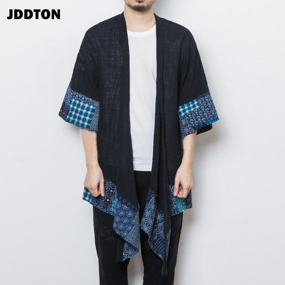 JDDTON Men Spring Kimono Linen Long Cardigan Outerwear Coats Fashion Casual Loose Irregular length Male Jackets Overcoat JE078