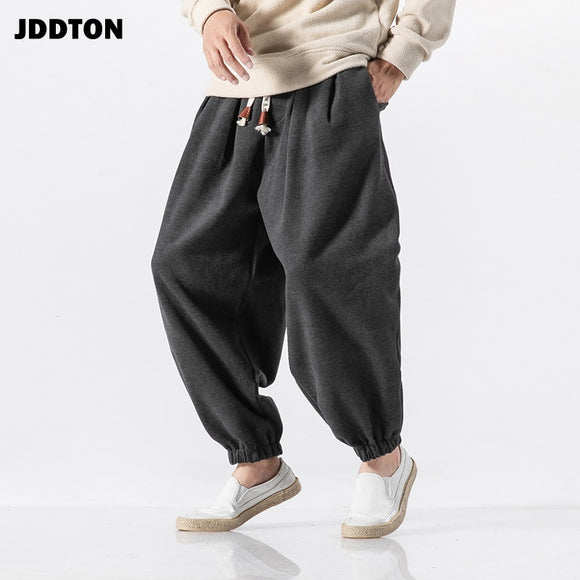 JDDTON Men's Winter Chinese Style Wool Warm Pants Joggers Sweatpants Casual Streetwear Solid Thermal Hip Hop Male Trousers JE083