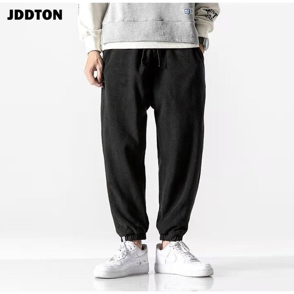 JDDTON Winter Men's Harem Pants Beam Foot Sweatpant Jogger Pant Trousers Loose Casual Hip Hop Japanese Harajuku Streetwear JE597