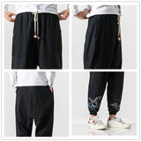 JDDTON  Autumn Men's Cotton Linen Pants Casual National Embroidered Pant Hip Hop Fashion Ankle Length Trousers Streetwear JE476