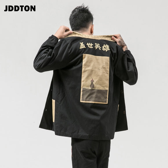 JDDTON New Autumn Winter Men's Jackets Printing Retro Outwear Chinese Style Windbreaker Casual Loose Fashion Overcoat 2020 JE123