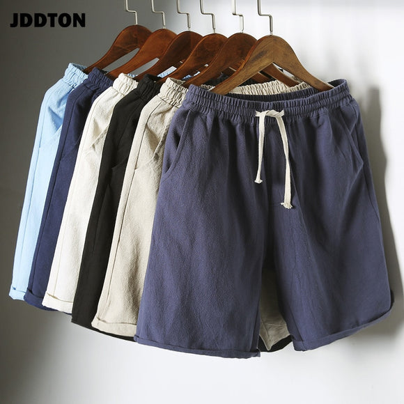 JDDTON Men's New Colorful Summer Cotton Linen Shorts Breathable Big Size 5XL Beach Soild Sweatshorts Casual Joggers Pants JE021