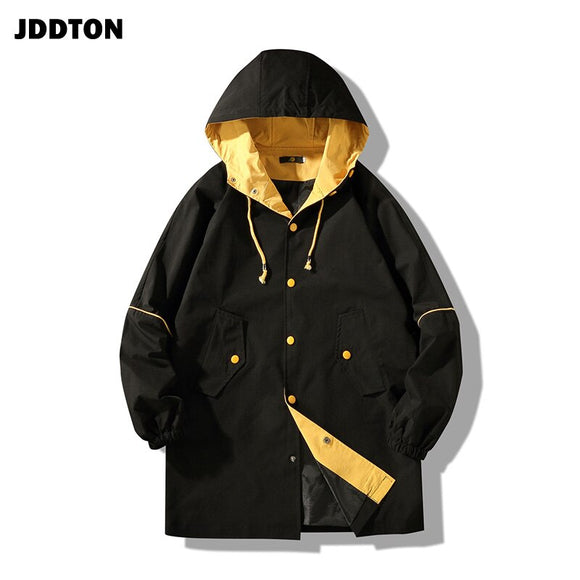 JDDTON Men Hooded Cargo Cargo Jacket Hoodies Windbreaker Casual Japanese Style Medium And Long Section Clothing Streetwear JE199