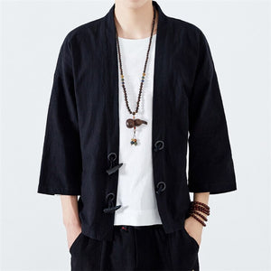 JDDTON 2020 Summer Men's Kimono Horn Buckle Fashion Cardigan Jackets Thin Outerwear Haori Coats Loose Casual Male Overcoat JE055