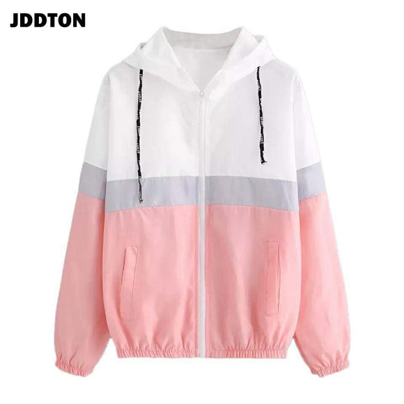 JDDTON Women's Hooded Jackets Patchwork Long Sleeve Clothing Multicolor Beam Waist Coats Female Casual Windbreaker EU Size JE286