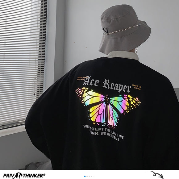 MrGoldenBowl Hip Hop Butterfly Reflective Men Sweatshirts 2020 Streetwear Man Oversized Black Pullovers Men Casual Hoodies