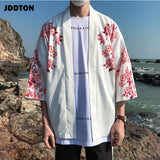 JDDTON Men's Summer Janpan Kimono Cardigan Long Carp Print Floral Casual Jackets Traditional Jpanese Clothing Streetwear JE087