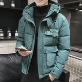 JDDTON New Winter Men's Hooded Jacket Parkas Big Pockets Loose Warm Windproof Thermal Windbreaker Coats Hoodies Streetwear JE540