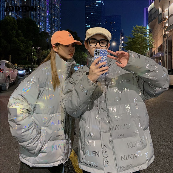 JDDTON Winter Men's Women Stand Collar Reflective Jacket Windproof Thermal Letter Printing Windbreaker Fashion Streetwear JE589