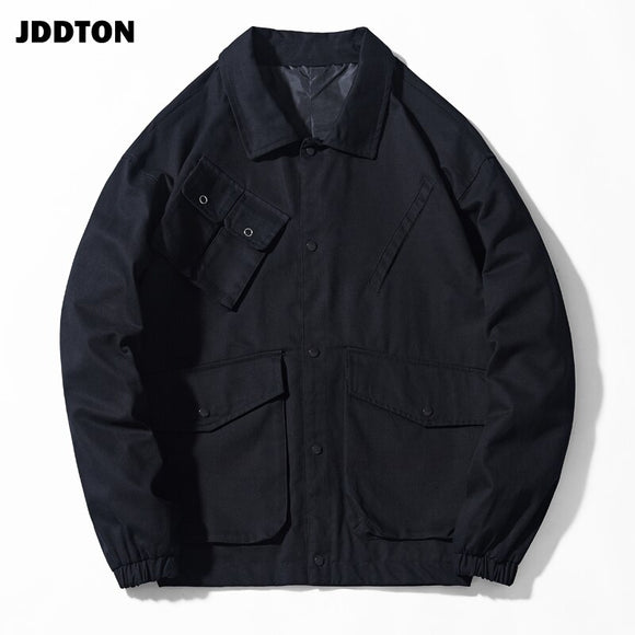 JDDTON Spring Autumn Men's Multi Pocket Jacket Loose Male Fashion Clothing Windbreaker Male Coat Casual Streetwear Outwear JE230
