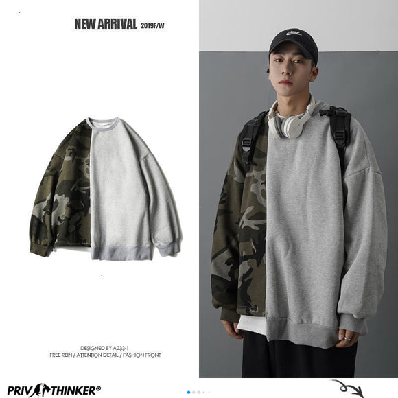 Privathinker Men's Patchwork Hoodies Pullovers 2020 Korean Camouflage Man Oversized Sweatshirts Streetwear Men Tops