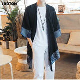JDDTON Men's Cotton Linen Kimono Jackets Leisure Cardigan Streetwear Shirts Chinese Style Samurai Traditional Casual Coats JE086