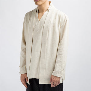 JDDTON Spring Men Cotton Linen Kimono Loose Fashion Long Cardigan Outerwear Vintage Coats Fake Two Pieces Casual Overcoats JE089