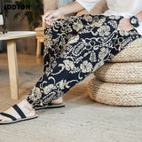 JDDTON Men's Loose Harem Autumn Pants Chinese Style Printing Man Sweatpants Ankle Length Casual Streetwear Male Trousers JE164