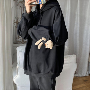 Privathinker Men's Bear Hooded Hoodies 2020 Winter New Woman Fashion Hooded Sweatshirts Korean Streetwear Thicken Clothing