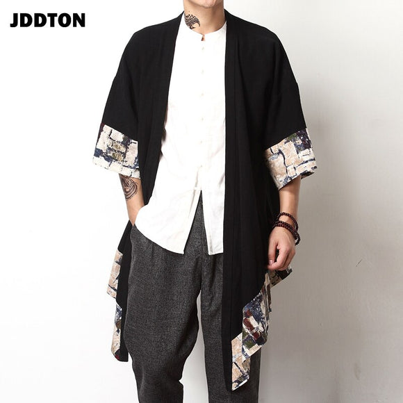 JDDTON Spring Men's Linen Kimono Fashion Loose Long Cardigan Outerwear Coats Irregular length Male Jackets Casual Overcoat JE009