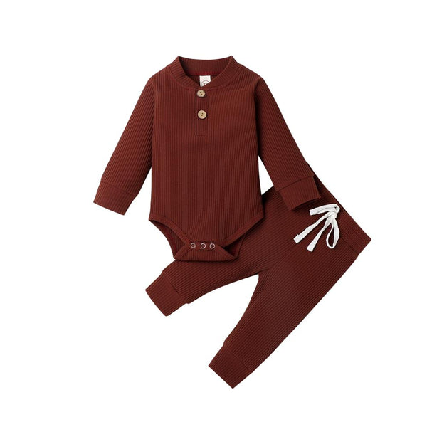 Clothes Sets Long Sleeve Bodysuits + Elastic Pants