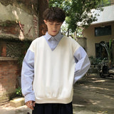 Men Sweaters Pullover Fake Two Pieces New Turn-down Neck Mens Korean Style Solid Leisure All-match Daily Outwear New Harajuku
