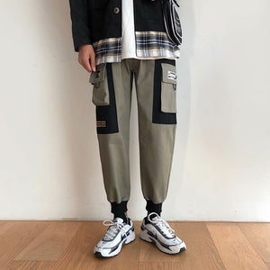 Men Cargo Casual Pants Pockets Bundle Ankle-length Ins Loose Large Size 3XL Mens Leisure Patchwork Elastic New Korean Style Chic