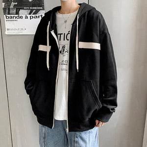 Jackets Men Patchwork Drawstring Hooded Long Sleeve Zipper Chic Handsome Students Clothes Bf Male Coats Fashion Harajuku Ulzzang