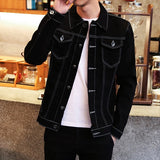 Denim Jacket Men 2020 Korean Style New Trendy Long Sleeve Mens Jackets and Coats Casual Males Plus Size Harajuku Black Coat Soft