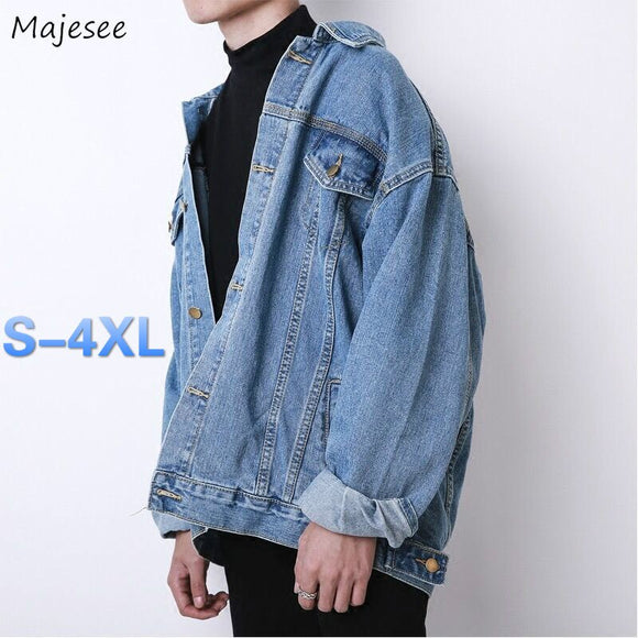 Jackets Men Denim plus size 4XL Classic Blue Vintage Pockets Mens Coat Outwear High Quality Street Style Casual All-match Daily