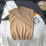 Sweater Vest Men Plus Size 2XL Spring Autumn Oversize Mens Vests Solid Simple All-match V-neck Couples Retro Khaki Soft Ulzzang