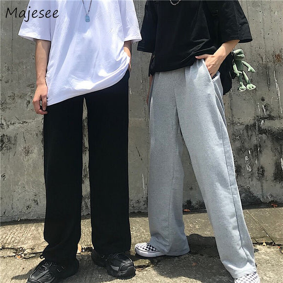 Men Pants Full Length Wide-leg Harajuku Plus Size Novelty Mens Vintage Korean Streetwear Trousers High Waist All Match Simple