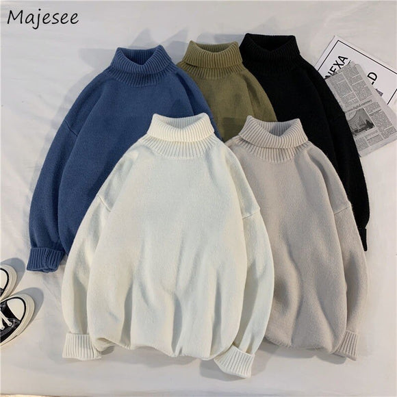Men Turtleneck Sweater Solid Simple High Quality Mens Pullovers Tops Couple Unisex All-match Casual 3XL Loose Trendy Ulzzang Ins