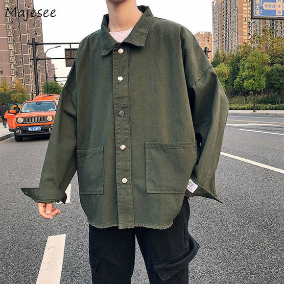 Men Jackets Denim Solid Cargo Coat Windbreaker Fur-lined Loose Big Size 2XL Casual Turn-down Collar Streetwear Hip Hop Fashion