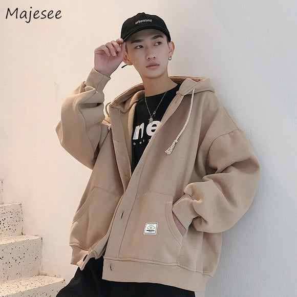 Jacket Men Solid Loose Plus Size Long Sleeve Zipper Mens Jackets Korean Style High Quality Males Harajuku Clothes Daily Chic