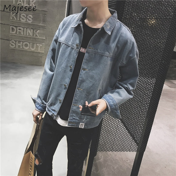 Jackets Men Turn-down Collar Single Breasted Solid Simple All-match Korean Style Jacket Mens Large Size Students Ulzzang Tops