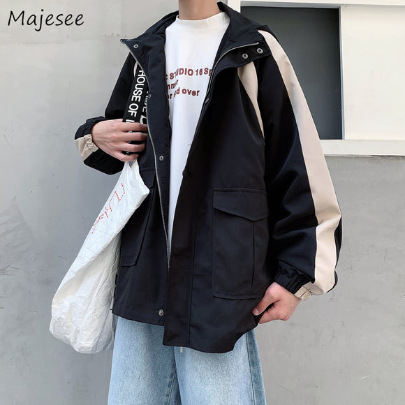 Men Jacket Casual Loose Zipper Vintage Long Sleeve Mens Jackets and Coats Students Hot Sale Plus Size Fashions Korean Clothes